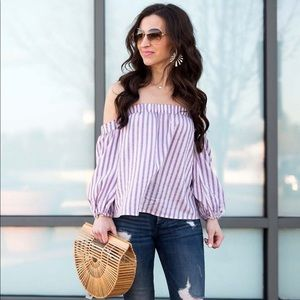 Express off the shoulder striped top